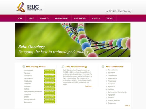 Web Design And Development Project Relic Biotechnology